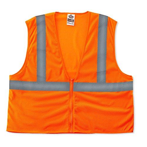 - Ergodyne GloWear 8205Z Reflective Safety Vest, High Visibility Orange Mesh, Type R Class 2, Zipper Closure, 4XL/ 5XL