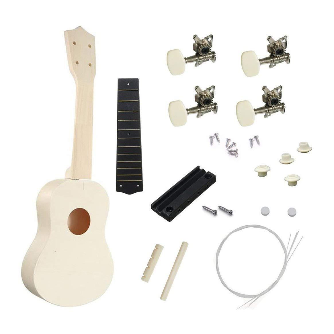 21 Ukulele DIY Set 4 cuerdas guitarra acú stica Instrumento musical de madera regalo soprano kit de guitarra hawaiana para principiantes Delicacydex