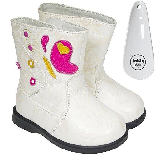 FREYCOO–Filles pour enfants bottes pour enfants en cuir véritable–Crème/blanc cassé polaire avec coussins–avec corne à chaussures