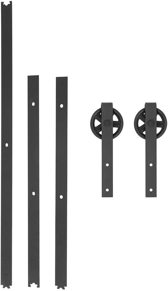 Mod/èle B: 8FT-2.4m 2.4m//8ft Kit Rail Porte Coulissante Suspendue Poulie Porte en Acier pour Portes Coulissantes Placard Galandage Grange Armoire Meuble
