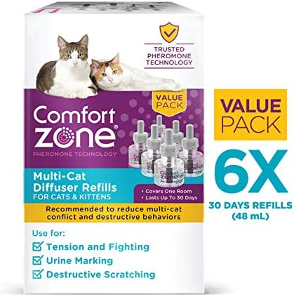 Comfort Zone MultiCat Calming Diffuser Refill Only - 6 Pack