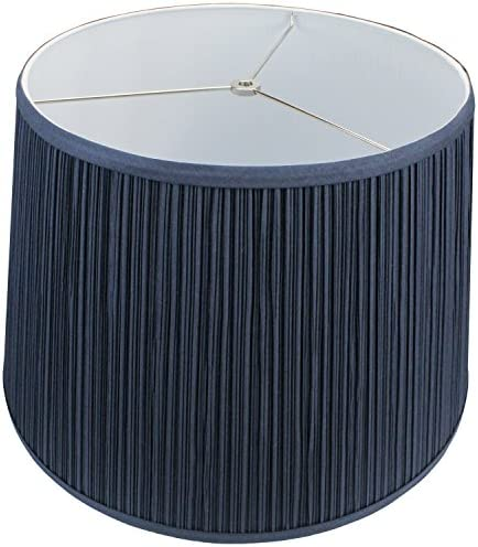 FenchelShades.com Lampshade 14 Top Diameter x 18 Bottom Diameter x 12 Slant Height with Washer Spider Attachment for Lamps with a Harp Pleated Mushroom Navy Blue