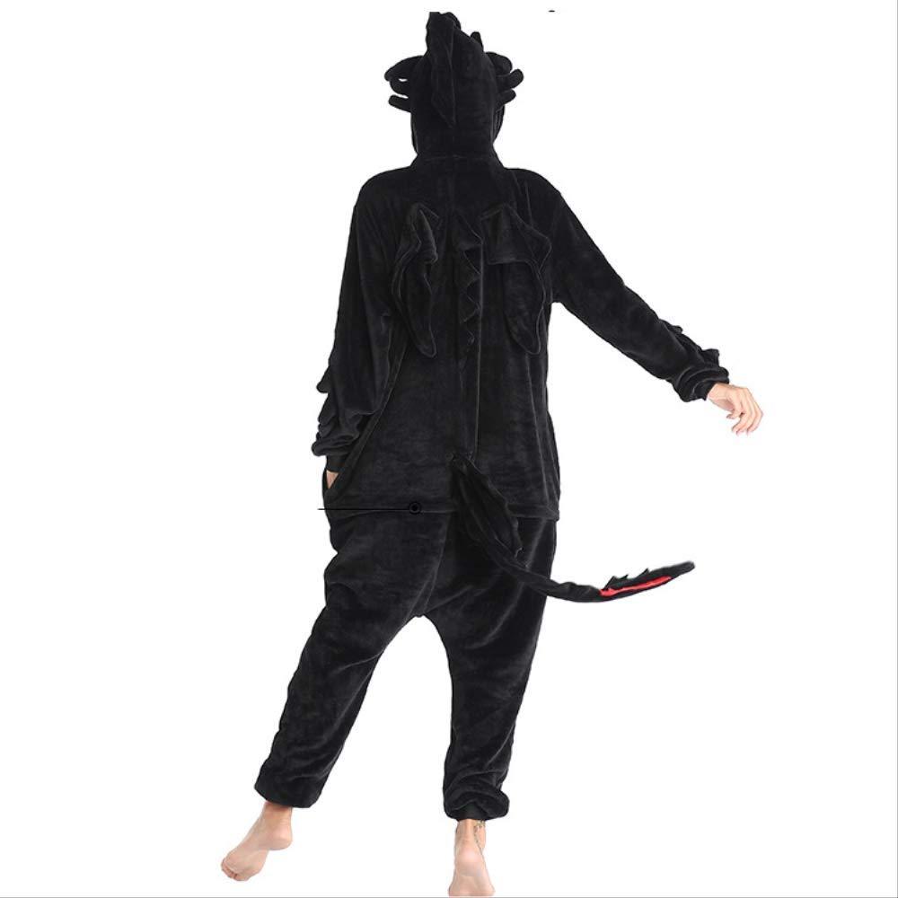 Pigiama Animale Unisex Adulto con Cappuccio Flanella Cartone Animato Drago Tutina Tutina Pigiami Pigiami Natale Halloween Tuta Costume