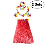 BESTOYARD 2 Sets Hawaiian Luau Hula Grass Skirt Flower Bracelets Headband Necklace Set 80cm for Costume Party, Events, Birthdays, Celebration (Red Skirt)
