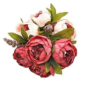 Jasion Artificial Peony Silk Flowers Bouquet Glorious Moral for Home Office Parties and Wedding Decoration 34