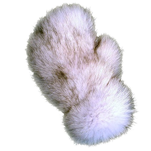 MinkgLove Fox Massage Glove, Textured and Silky Soft Feel, Natural Blue Fox Color, Hand Tailored, Unisex, One Size - Double Sided Fur by MinkgLove