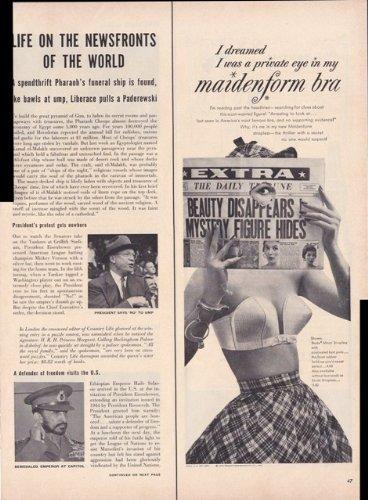 (Maidenform Bra Women's Lingerie 1954 Vintage Antique Advertisement)