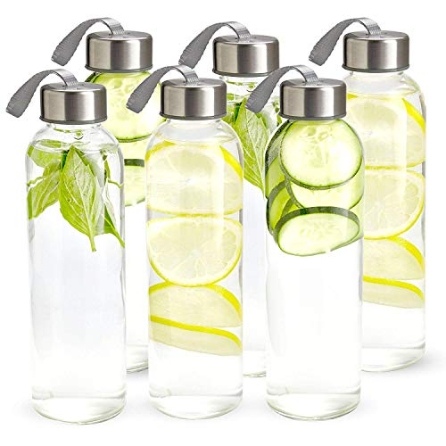 Glass Water Bottles 6 Pack 10oz Travel Juice Beverage Milk Bottle Clear Sport Bottles with Stainless Steel Caps Carrying Loops by General