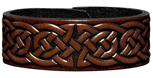 leather-bracelet-embossed-24mm-celtic-knotwork-2-antique-brown-with-snap-fasteners-nickel-free-22-ce