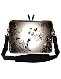 Meffort Inc 17 17.3 inch Neoprene Laptop Sleeve Bag Carrying Case with Hidden Handle and Adjustable Shoulder Strap - Brown Butterfly Design