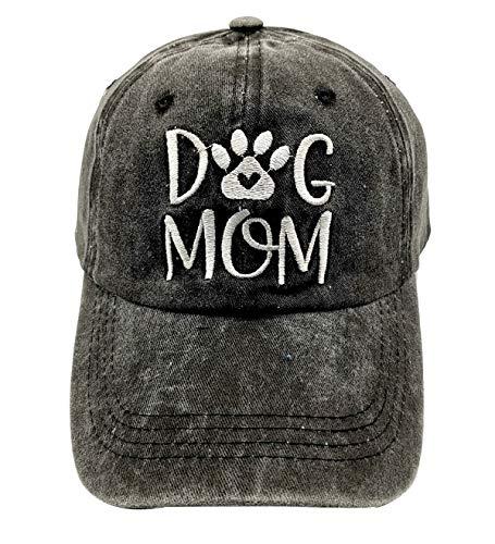 LOKIDVE Dog Mom Embroidered Baseball Cap Washed Cotton Denim Hat for Women Black