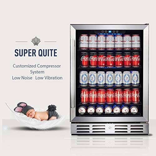 Kalamera 24 inch Beverage Refrigerator - 154 Cans Capacity Beverage Cooler- Fit Perfectly into 24