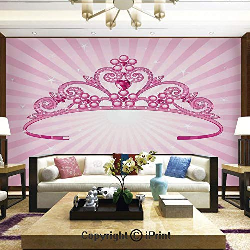 Lionpapa_mural Self-Adhesive Large Wallpaper Better Designs for Living Room,Beautiful Pink Fairy Princess Costume Print Crown with Diamond Image Art Decorative,Home Decor - 100x144 inches