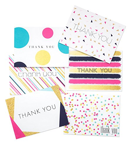 Party Thank You Cards and Envelopes (36 Set) 6 Colorful Polka Dot Striped Rainbow Confetti Thank You Notes | For Birthday Party, Gift, Unicorn Theme - Made in USA (Multi Color)