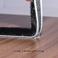Sellado de cepillo autoadhesivo Burlete 4.9 m (L) x9 mm (W) x 9 mm (T) Tapón de aire de tiro Aire de alta densidad Excéntrico para puertas correderas Ventana y armario -