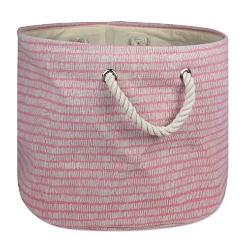 DII Collapsible Polyester Storage Basket or Bin with Durable Cotton Handles, Home Organizer Solution for Office, Bedroom Closet, Toys, Laundry, Large Round, Pink Sorbet