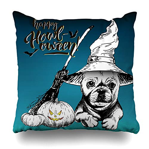 Pandarllin Throw Pillow Cover Holiday Happy French Bulldog Dog Holidays Black Breed Broom Celebration Cushion Case Home Decor Design Square Size 16 x 16 Inches Pillowcase