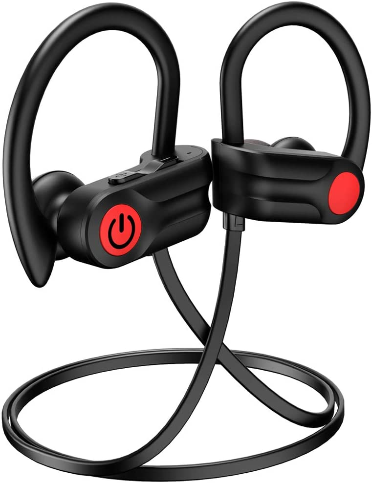 Bluetooth Headphones, 12Hrs Playtime & Bluetooth 5.0 Noise Cancelling Sport Wireless Headphones, Powerbeats 3 Style IPX7 Waterproof Running Headphones, Built-in Mic, for Running, Gym, Exercise