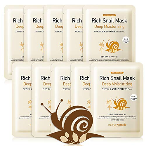 MOTHER MADE Deep Moisturizing Rich Snail Face Mask (Bundle of 10), 100% Cotton Cupra Sheet Mask with Anti-Aging Snail Secretion Filtrate 5,000ppm, Intensely Hydrate & Repair