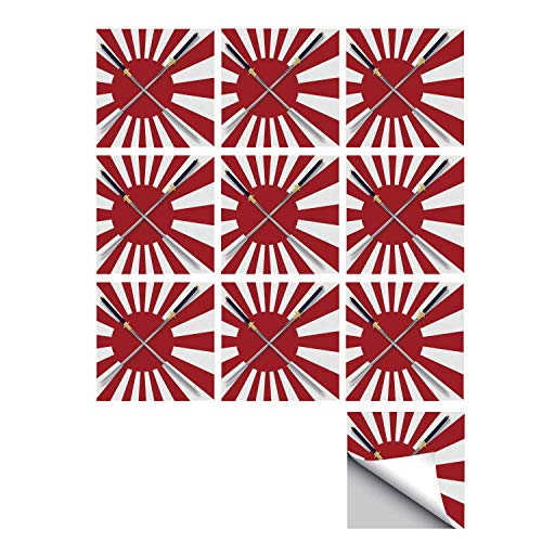 - C COABALLA Japanese Stylish Ceramic Tile Stickers 10 Pieces,Rising Sun Inspired Japanese Flag Two Long Symbolic National Warrior Swords Design for Kitchen Living Room,5
