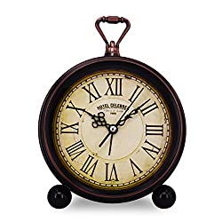 Vintage Retro Living Room Decorative Non-ticking, Sweep Second Hand, Quartz, Analog Large Numerals Bedside Table Desk Alarm Clock, Battery Operated (Hotel Celebres)