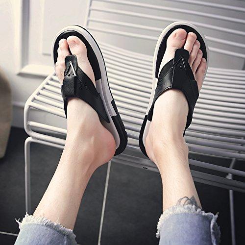 Xing Lin Sandales En Cuir Cool Et Homme Sandales D'été Épais Hommes Pantoufles Hommes Homme Sandales Nouveau Champ Et, 41, T-01ml Black Male Tide
