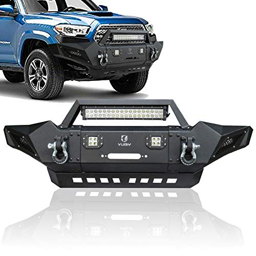 Hunter Front Bumper with LED Aluminum Alloy Lights + winch Frame + D-Ring for Tacoma 2005-2015
