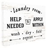 Stupell Home Décor Laundry Room Help Needed Apply Within Oversized Stretched Canvas Wall Art, 24 x 1.5 x 30, Proudly Made in USA
