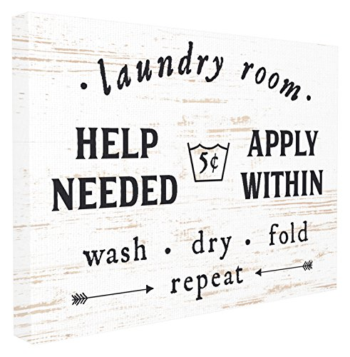 Canvas Wall Ornaments - Stupell Home Décor Laundry Room Help Needed Apply Within Oversized Stretched Canvas Wall Art, 24 x 1.5 x 30, Proudly Made in USA
