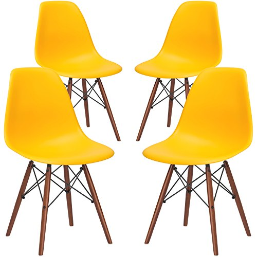 Poly and Bark Vortex Modern Mid-Century Side Chair with Wooden Walnut Legs for Kitchen, Living Room and Dining Room, Yellow (Set of 4)