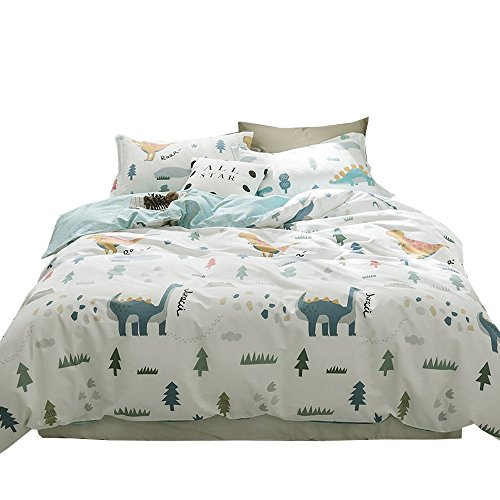 EAVD 100% Cotton Bedding Set Little Boy Reversible Cartoon Boys/Teens 3PCS Cute Animal Printing Duvet Cover Soft with 2 Pollowcases, Dinosaur-C Comforter Covers Full Queen ()