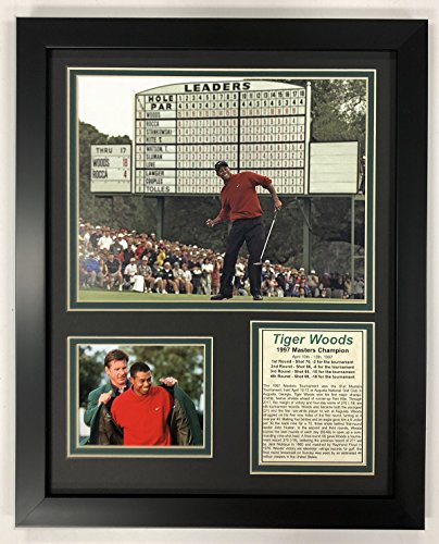 "Legends Never Die PGA Tiger Woods 1997 Masters Champion Framed Double Matted Photos, 12"" x 15"""