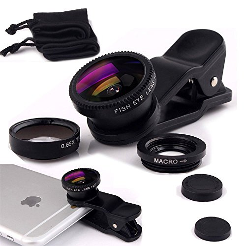 Luxsure Universal 3 in 1 Camera Lens Kit Clip-On 180 Degree Supreme Fisheye + 0.65X Wide Angle+ 10X Macro Lens for iPhone 7, iPhone 6s/6s Plus, iPhone 6/6 Plus,iPhone 5 5S Samsung S7 Android (Black)