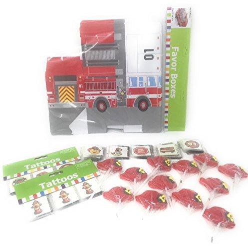 Lollipops Set (Firefighter Party Favor Bundle for 12: 12 Fire Truck Shaped Boxes, 12 Fire Hat Lollipops, Set of Fire Safety Tattoos, Set of Firefighter Tattoos)