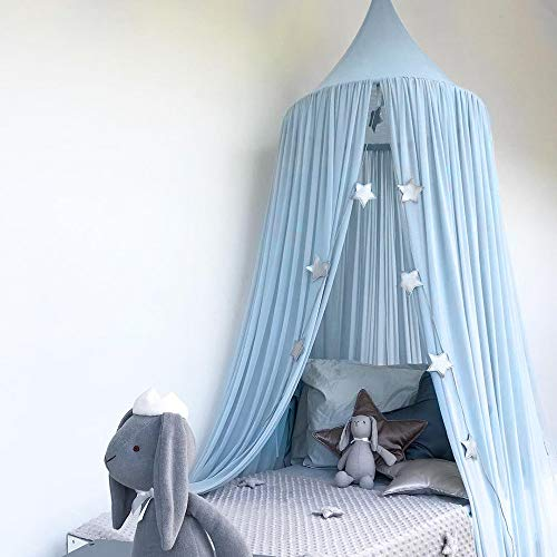 Vibola Baby Mosquito Net, Bed Round Dome Canopy Curtain Comfortable Breathable Cotton Linen Mosquito Net (Light Blue)