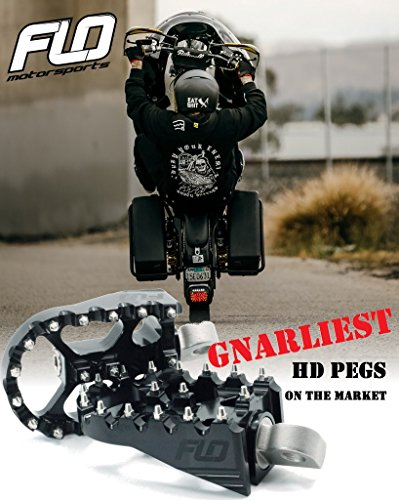 FLO MOTORSPORTS MX STYLE HARLEY DAVIDSON DYNA FOOT PEGS (Black) by Flo Motorsports (Image #7)