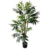 Pure Garden 5 Foot Artificial Palm Tree - Large Faux Potted Tropical Plant for Indoor or Outdoor Decoration at Home, Office, or Restaurant