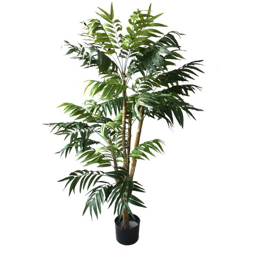 (Pure Garden 5 Foot Artificial Palm Tree - Large Faux Potted Tropical Plant for Indoor or Outdoor Decoration at Home, Office, or Restaurant)