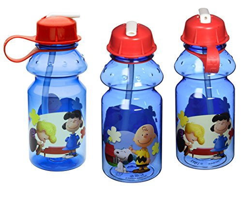 3-Pack Charlie Brown Peanuts 14oz Tritan Sipper Water Bottle, BPA-free (Bottle Snoopy)