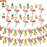 VONDERSO 4 Pack Tropical Party Decorations Luau Party Supplies Hawaii Party Banners Flamingo & Gold Pineapple With 2 designs