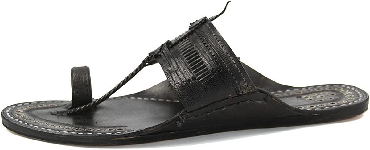 KORAKARI Eye-Catching Silver Rivets Black Men Kolhapuri Chappal KRKA-M-128