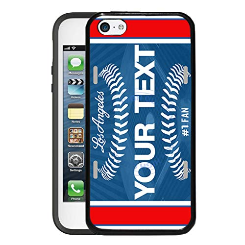 BRGiftShop Customize Your Own Baseball Team Los Angeles Blue Rubber Phone Case for Apple iPod Touch 5th & 6th Generation