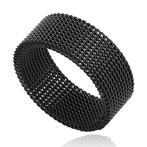 Milo Bruno 8MM Stainless Steel Mesh Ring (Black) - 06 (Mesh Steel Ring Stainless)