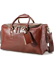 BAIGIO Mens Vintage Leather Travel Duffle Overnight Weekend Bag Gym Tote Carry On Luggage