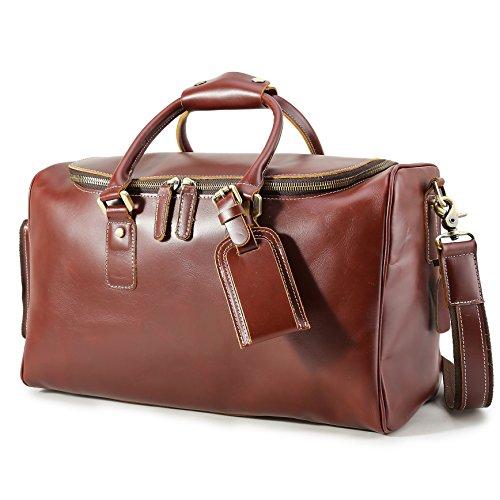 BAIGIO Vintage Leather Overnight Luggage