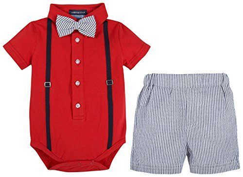 Andy & Evan Baby Boys' Polo Shirtzie with Seersucker Woven Short, Red, 3/6