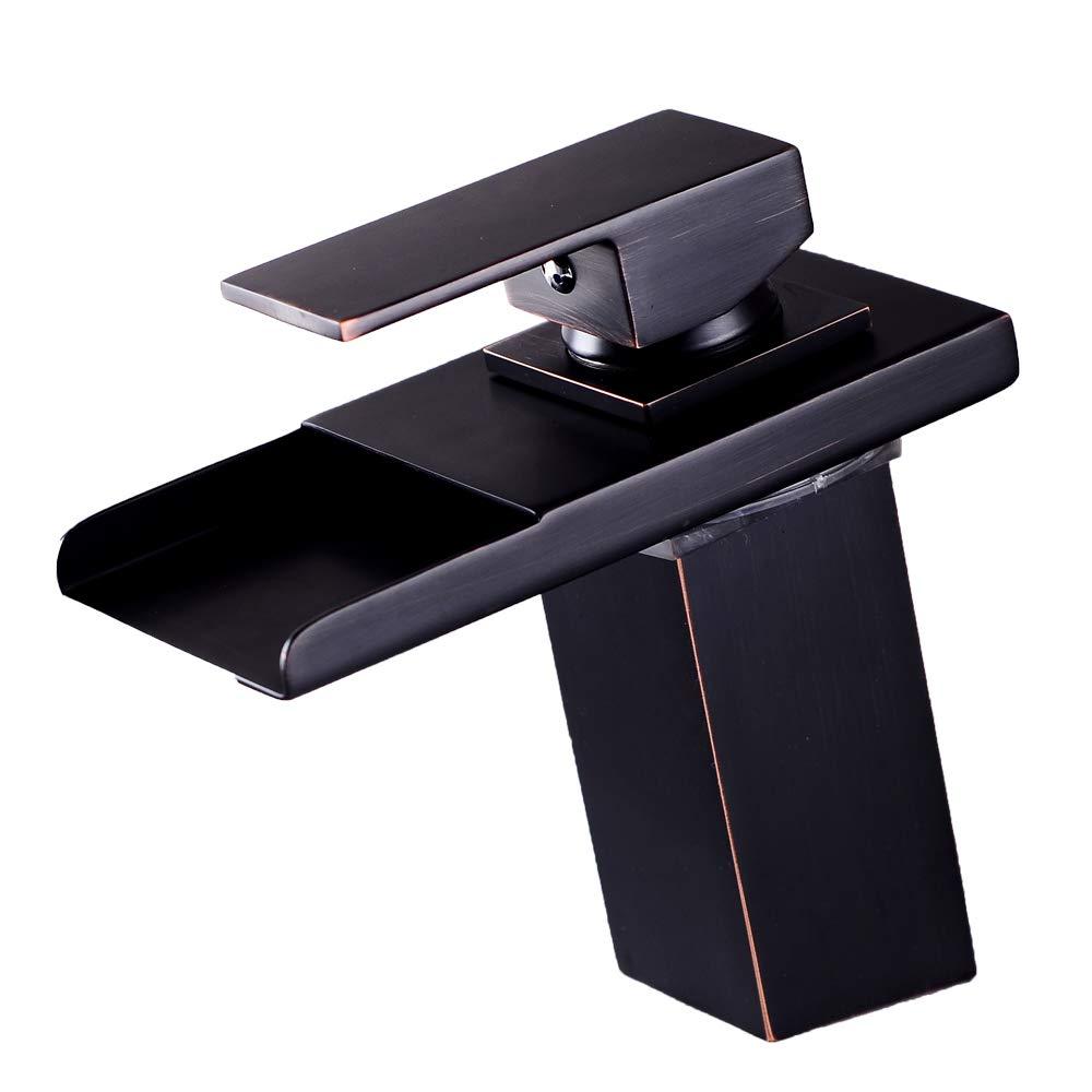 Basin Faucet Led Copper Single Hole Single Handle Hot and Cold Washstand Washbasin Mixer Waterfall Basin