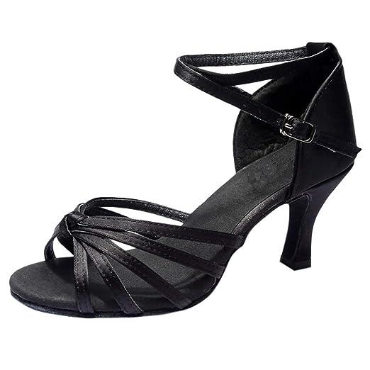 e784e63e567 Women s Professional Latin Dance Shoes Satin Salsa Ballroom Wedding Dancing  Shoes Office Work Sandals 2