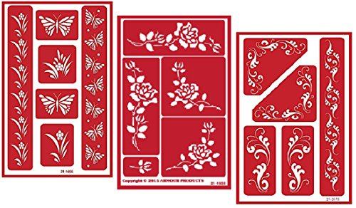 - 3 Armour Etch Over N Over Reusable Glass Etching Stencils Set | Butterfly, Fleur De Lis, Rose