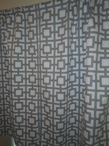 "Grey Geometric trellis, Grey & white square shapes, 2 panels/Tiers - Window/Kitchen, Bath, Laundry, basement, office kids daycare schools, gray Kitchen cafe curtains 36""L"